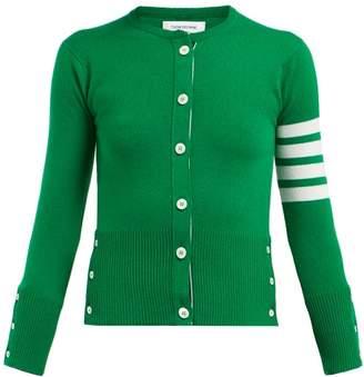 Thom Browne Stripe Sleeve Cashmere Cardigan - Womens - Green Multi