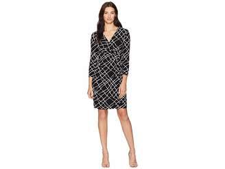 Anne Klein Wrap Dress Greenwich Tartan Print Jersey Women's Dress