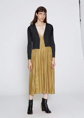 Pleats Please Issey Miyake Sleeveless V-Neck Check Dress