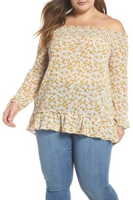 Glamorous Floral Back Tie Off the Shoulder Blouse (Plus Size)