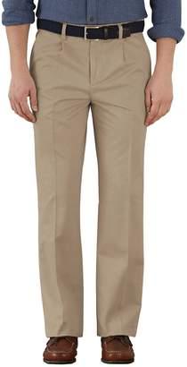 Charles Tyrwhitt Stone Classic Fit Single Pleat Washed Cotton Chino Pants Size W40 L34