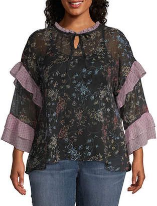 A.N.A Long Sleeve Peasant Top - Plus