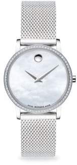 Movado Museum Pave Diamond Stainless Steel Mesh Bracelet Watch