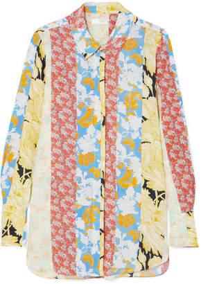 Stine Goya Virgo Floral-print Silk Crepe De Chine Shirt - Pastel yellow