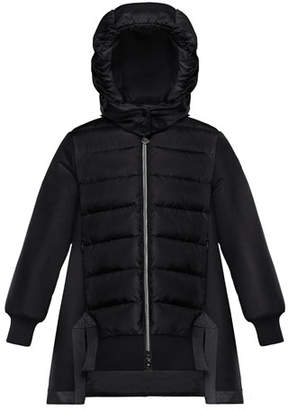 Moncler Mixed Material A-Line Long Coat, Size 4-6
