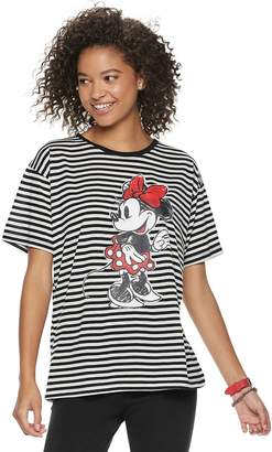 4a21f8663d ... Disney s Mickey Mouse 90th Anniversary Juniors  Minnie Mouse Striped  Ringer Tee
