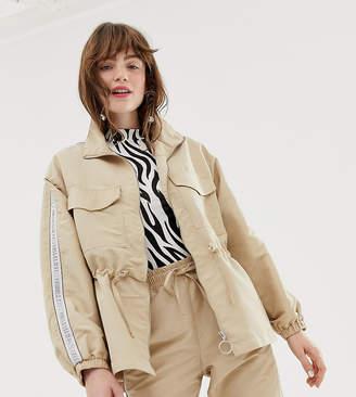 Monki oversized utility jacket with drawstring in beige