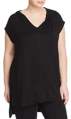 Andrew Marc Plus Hooded High/Low Tunic Top