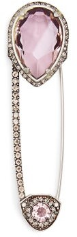 Alexander McQueen Crystal Safety Pin Brooch - Womens - Pink