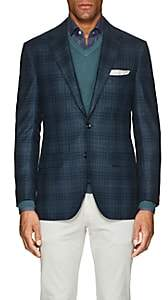Sartorio Men's PG Plaid Wool-Silk Two-Button Sportcoat-Lt. Blue