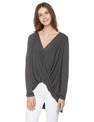 Painted Heart Women's Draped Front Loose Fit Knit Blouse