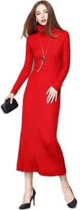 BestBang Women Slim Fit Ribbed Turtleneck Long Sleeve Maxi Knit Sweater Dress (XL, )