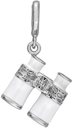 Laura Ashley Nautical Collection Sterling Silver Lab-Created White Sapphire Binoculars Charm $250 thestylecure.com