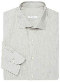 Boglioli Regular-Fit Brushed Herringbone Dress Shirt