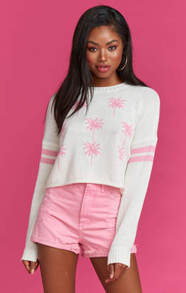 Show Me Your Mumu Cropped Varsity Sweater ~ Barbie Palms Knit