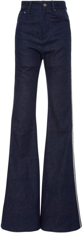 Brandon Maxwell Bell Bottom Tuxedo Stripe Jean