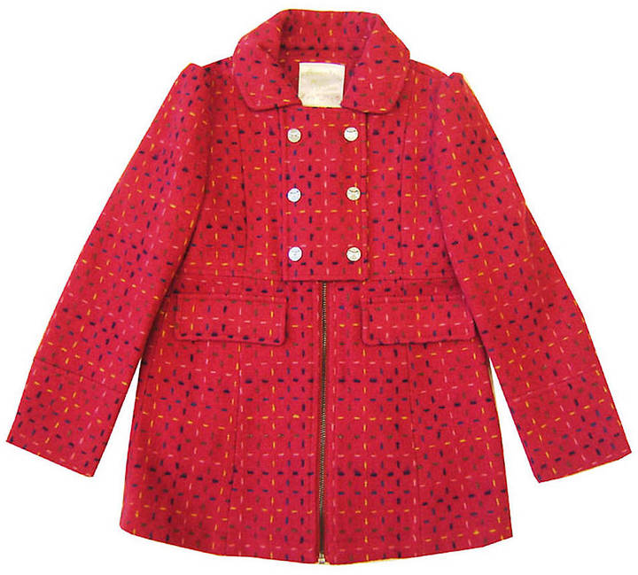 LOVE LILAH Girls 2-6x Pink Multi-Colored Tweed Coat
