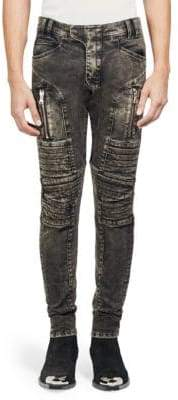 Balmain Faded Moto Skinny Jeans