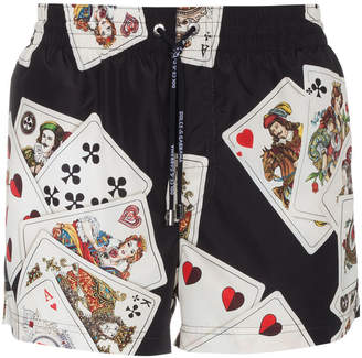Dolce & Gabbana Black swim shorts with cards print