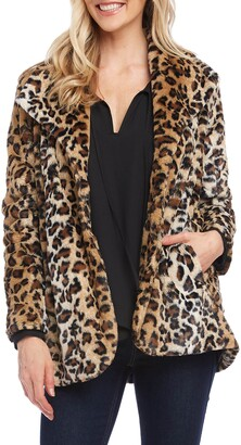 Karen Kane Leopard Print Faux Fur Coat