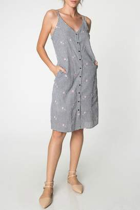 Everly Embroidered Gingham Dress