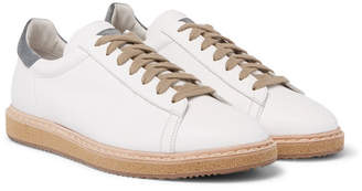Brunello Cucinelli Suede-Trimmed Leather Sneakers - Men - White