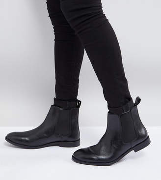 Asos Design Wide Fit Chelsea Boots in Black Leather