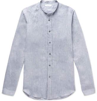 Boglioli Grandad-Collar Mélange Linen Shirt