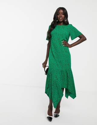 Nobody's Child tiered maxi dress in green spot print