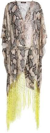 Fringed Snake-Print Cotton And Silk-Blend Kaftan