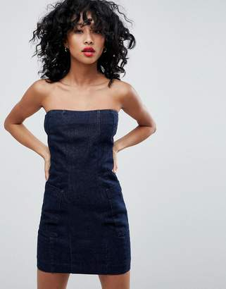 Asos DESIGN denim strapless dress in indigo