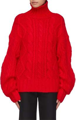 Aalto Extra long sleeve cable knit turtleneck sweater