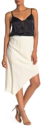 Go Silk Go by Asymmetrical Frayed Hem Silk Wrap Skirt