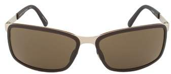 Porsche Design Design P8552 C Rectangular Sunglasses | Gold Frame | Brown Lens.