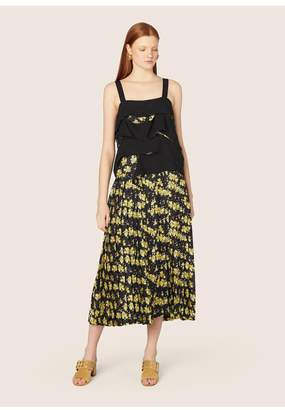 Derek Lam Draped Panel Cami Dress With Pleated Skirt