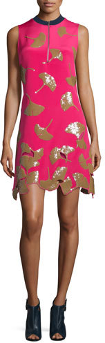 3.1 Phillip Lim 3.1 Phillip Lim Gingko-Embellished Shift Dress, Bright Cerise