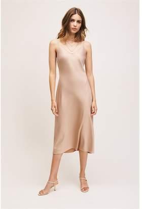 Dynamite V-Neck Satin Slip Dress Warm Taupe