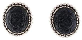 Stephen Dweck Carved Blue Goldstone Clip-On Earrings