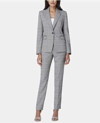 Tahari ASL Peak-Lapel Plaid Pantsuit