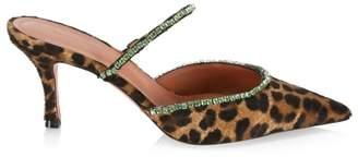 Amina Muaddi Gilda Embellished Leopard-Print Calf Hair Mules
