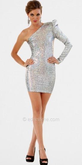 No Sexy Metallic One Shoulder Homecoming Dress