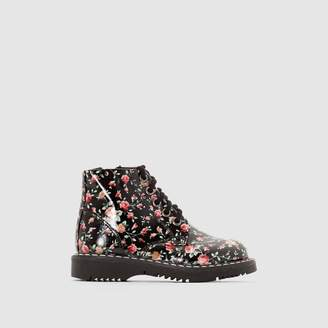 La Redoute Collections Patent Top Boots with Laces and Zips