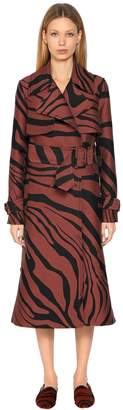Roberto Cavalli Zebra Cotton Jacquard Trench Coat