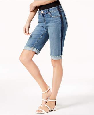 INC International Concepts I.n.c. Curvy-Fit Contrast-Trim Cuffed Denim Shorts