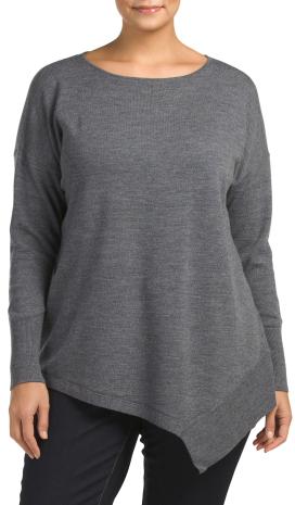 Plus Merino Wool Asymmetrical Sweater