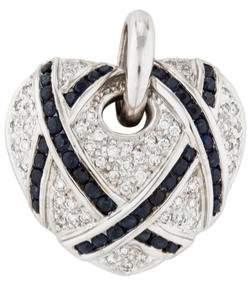 18K Diamond & Sapphire Heart Pendant