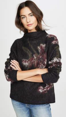 Vince Brushed Floral Funnel Neck Sweater