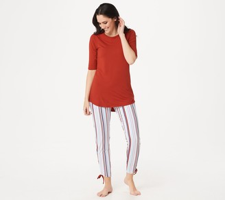 Cuddl Duds Smart Comfort Short Sleeve Tee & Cropped Pant Set