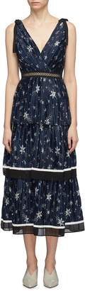 Self-Portrait Tie shoulder pleated tiered star print satin dress