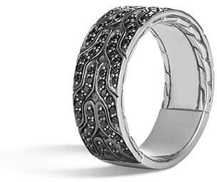 fadd134a29c69a John Hardy Men's Classic Chain 18K White Gold Band Ring w/ Black Sapphires